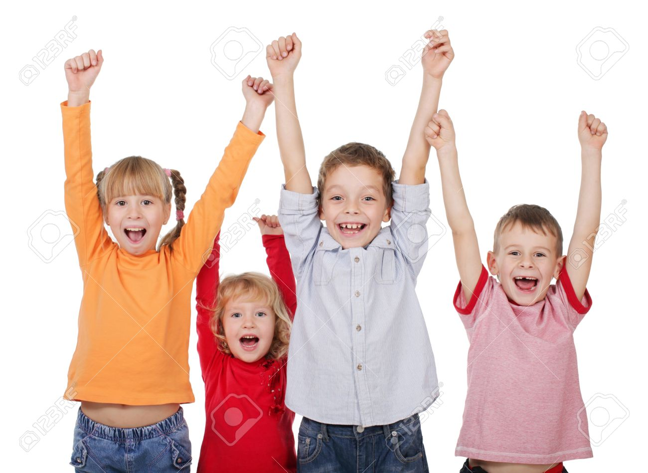 11204205-Happy-kids-with-their-hands-up-isolated-on-white-Stock-Photo-children
